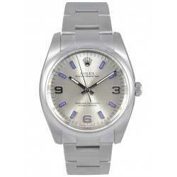 Rolex Oyster Perpetual Silver Arab Blue index Oyster 114200