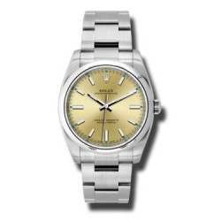 Rolex Oyster Perpetual 34 Champagne/index Oyster 114200 Basel 2015