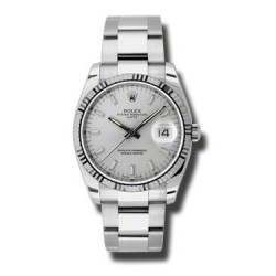 Rolex Date Silver/index Oyster 115234