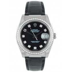 Rolex Date-Just Black Diamond Dial/ Diamond Bezel 116189
