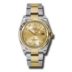 Rolex Datejust Champagne Roman Oyster 116233