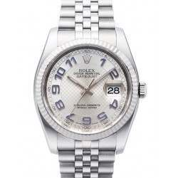Rolex Datejust Silver Decorated Arab/Blue Jubilee 116234
