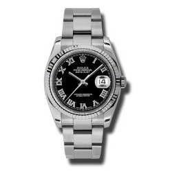 Rolex Datejust Black Roman Oyster 116234