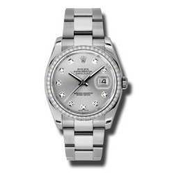 Rolex Datejust Silver/Diamond Oyster 116244