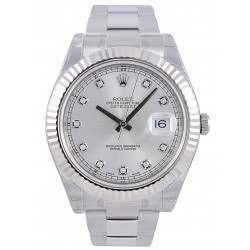 Rolex Datejust II Silver/Diamond Oyster 116334