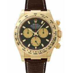 Rolex Daytona Yellow Gold Black-Champagne/index Leather 116518