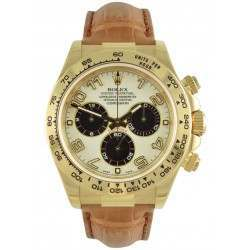 Rolex Cosmograph Daytona Yellow Gold White-Black Arab Leather 116518
