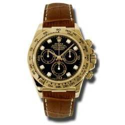 Rolex Cosmograph Daytona Black/8 Diamond Leather 116518