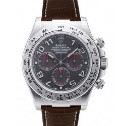 Rolex Cosmograph Daytona 18ct White Gold Slate Arab Leather 116519