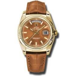 Rolex Day-Date Cognac/index Leather 118138