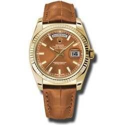 Rolex Day-Date Cognac/index Leather 118138