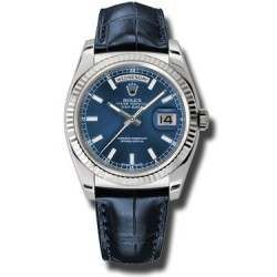 Rolex Day-Date Blue/index Leather 118139