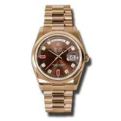 Rolex Day-Date Chocolate/8 Diamond & 2 Rubies President 118205