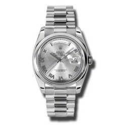 Rolex Day-Date Rhodium Roman President 118206