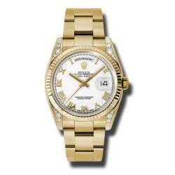 Rolex Day-Date Yellow Gold White Roman Oyster 118338