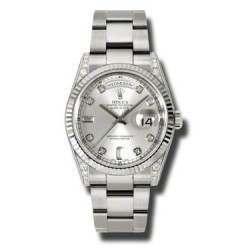 Rolex Day-Date Silver/Diamond Oyster 118339