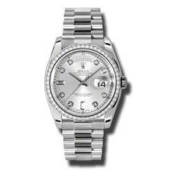 Rolex Day-Date Silver/Diamond President 118346
