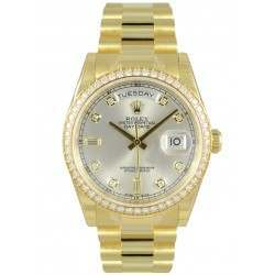 Rolex Day-Date Yellow Gold Silver/Diamond President 118348