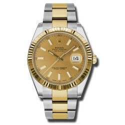Rolex Datejust 41 Steel and Yellow Gold Champagne/Index Oyster 126333