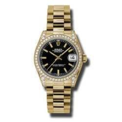 Rolex Datejust 31mm Yellow Gold Black/index President 178158