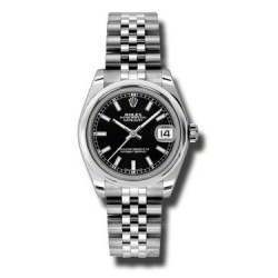 Rolex Lady Datejust 31mm Black/index Jubilee 178240