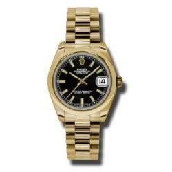 Rolex Datejust 31mm Yellow Gold Black/index President 178248