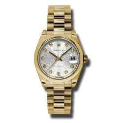 Rolex Datejust 31mm Yellow Gold Silver Jub/Diamond President 178248
