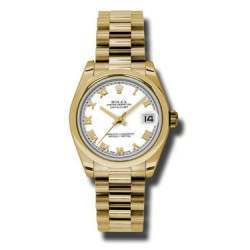 Rolex Datejust 31mm Yellow Gold White Roman President 178248