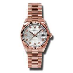 Rolex Datejust 31mm Pink Gold Silver Jub/Diamond President 178275