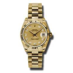 Rolex Lady Datejust 31mm Champagne/diamond President 178278