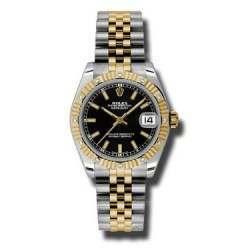 Rolex Datejust 31mm Steel & Yellow Gold Black/index Jubilee 178313