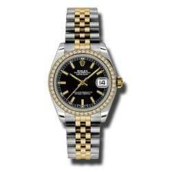 Rolex Lady Datejust 31mm Black/index Jubilee 178383