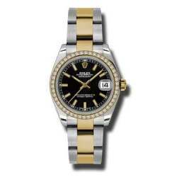 Rolex Lady Datejust 31mm Black/index Oyster 178383