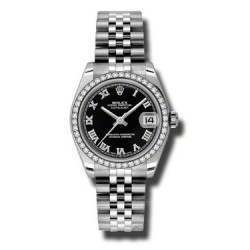 Rolex Lady Datejust 31mm Black Roman Jubilee 178384