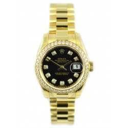 Rolex Lady-Datejust Black/Diamond President 179138