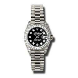 Rolex Lady Datejust White Gold Black/diamond President 179159