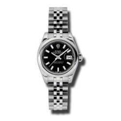 Rolex Lady-Datejust Black/index Jubilee 179160