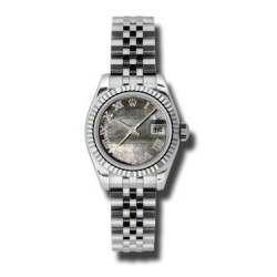 Rolex Lady-Datejust Black mop Roman Jubilee 179174