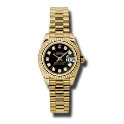 Rolex Lady-Datejust Black/Diamond President 179178
