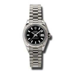 Rolex Lady-Datejust Black/index President 179179