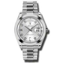Rolex Day-Date II Silver/Diamond President 218206