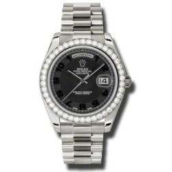 Rolex Day-Date II Black Arab Concentric President 218349