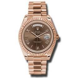 Rolex Day-Date 40 Chocolate/ Roman President Rose Gold 228235