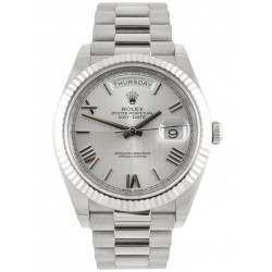 Rolex Day Date Silver/ Roman White Gold 228239