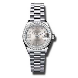 Rolex Lady Datejust 28 Platinum Silver/Diamond 279136RBR
