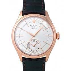 Rolex Cellini Dual Time Silver Guilloche/Hour Markers Leather 50525