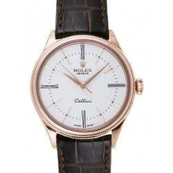Rolex Cellini Time White/Hour Markers Leather 50505
