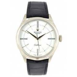 Rolex Cellini Time White/Hour Markers Leather 50509