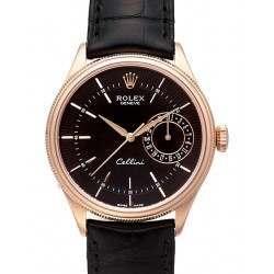 Rolex Cellini Date Black Guilloche/Hour Markers Leather 50515