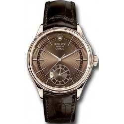 Rolex Cellini Dual Time Brown Guilloche Dial Brown Leather Strap 50525